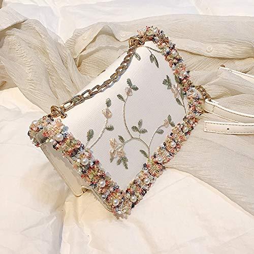 CZDXM Kleine Tasche Weibliche Wilde Messenger Bag Kette Umhängetasche Mode Handtasche Weiß -