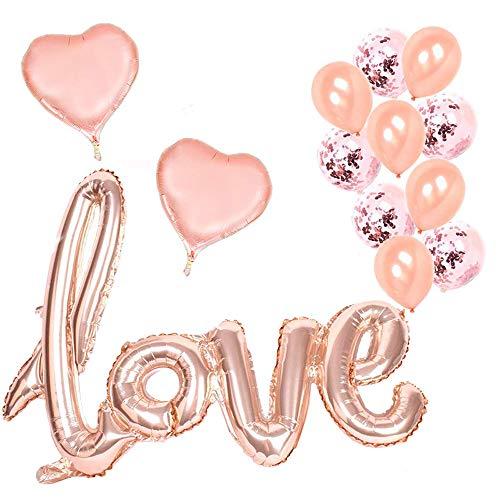 Erlliyeu Rose Gold Love Balloon Set - 13 Pack - Folien-Herz-Ballons Konfetti-Ballons für romantische Hochzeit Braut Jubiläum Party Dekoration-Love Ballon-Kit