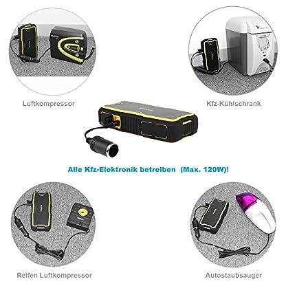 51jb9RGDYXL. SS416  - RoyPow IP66 Arrancador de Coche (Motores Gasolina 8.0L o Diesel 5.0L) Arrancador de baterías Batería automática Power Booster Banco de energía 120W 12V DC Power Pack