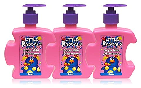 3x Little Rascals Kids Shampoo Supa Mild Conditioning Childrens Bozey 250ml