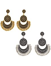 Yellow Chimes Tribal Muse Collection Oxidised Chandbali Silver Earrings For Women & Girls
