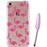 iPhone 7Plus caso 5,5Inche, vioela Tropical rosa Flamingo pattern Ultra Slim Flexible Suave TPU Silicona Goma GEL resistente a los arañazos transparente funda protectora con diseño para Apple Iphone 7Plus 5.5Inch con lápiz