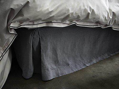 Cache sommier - lin lavé - uni gris BLANC CERISE 180x200 cm