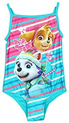 Girls Paw Patrol Skye & Everest Stripe Puppy Dog Swimming Costume sizes from 2 to 6 Years