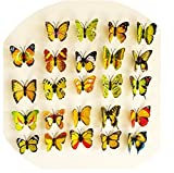 Domire 12 Pcs 3D Butterfly Stickers Making Stickers Wall Stickers Crafts Butterflies ,Yellow