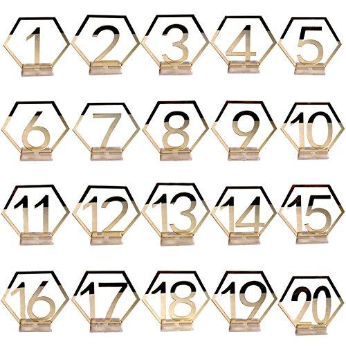 Amosfun 1-20 Hochzeit Tischnummern Acryl Spiegel Silber Zahlen platzhalter Tischständer Karten Nummernschild Dekore für Hochzeit Geburtstag (Golden)
