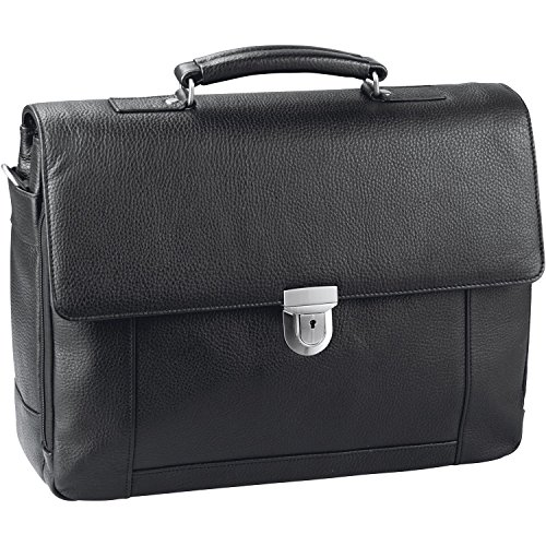 d & n Basic Aktentasche Leder 41 cm Laptopfach schwarz