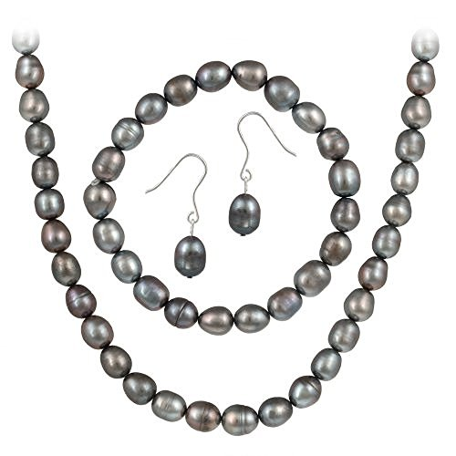 Sterling Silver Freshwater Cultured Grey Pearl Necklace, Bracelet, Earring Jewelry Set