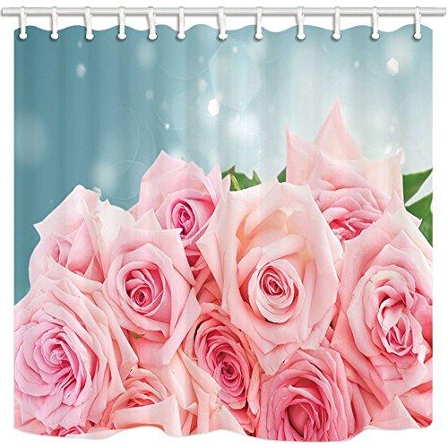 nyngei Valentine 's Day Vorhang für die Dusche von ein Strauß von Pink Rose Romance Druck Badezimmer Polyester-Schimmelresistent-Wasserdicht Duschvorhang Set mit Haken 179,8x 179,8cm - Runde Druck-vorhang Rod
