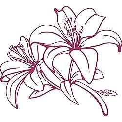 GRAZDesign 560021_50_821 Wandtattoo Blumen | Blumen-Tattoo Lilie für Wohnzimmer - Schlafzimmer - Küche | Blumenranken und Pflanzen an die Wand als Wand-Aufkleber (55x50cm//821 magnolia)