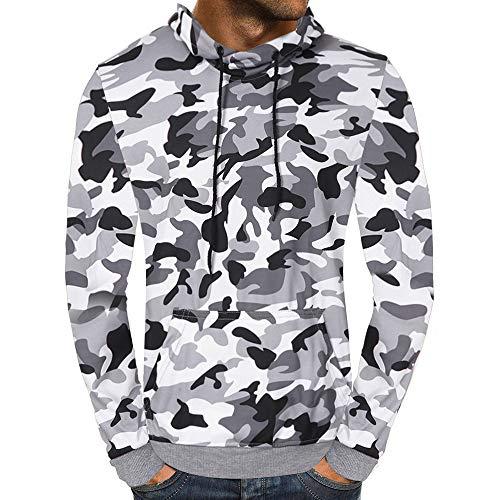 B-COMMERCE Herren Kapuzenshirt Kapuzenshirt Herren Slim Fit Basic Camouflage Print Langarm T-Shirt mit Reißverschluss und Kapuze (Polo-shirts Pack Von Lauren Ralph)