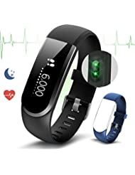 Fitness Tracker Heart Rate Monitor Pedometer Watch Smart Bracelet Activity Tracker with Sleep Monitor/Calorie Monitor Call/Messages Alert/Swimming/Bluetooth/Sedentary Reminder/Camera Remote Control by Ironpeas