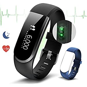 Fitness Tracker Heart Rate Monitor Pedometer Watch Smart Bracelet Activity Tracker with Sleep Monitor/Calorie Monitor Call/Messages Alert/Swiming/Sedentary Reminder/Camera Remote Control by Ironpeas