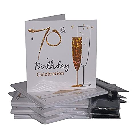 Multipack Gold Champagne Glass 70th Birthday Party Invitation Cards - 36 Cards with Envelopes