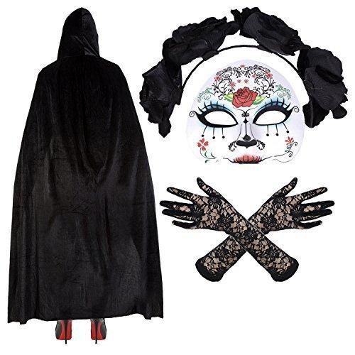 (Damen Mexikanisch Zuckerschädel Tag Der Toten Halloween Kostüm - Maske/Stirnband/Velvet Umhang/Spitzenhandschuhe - Maria)