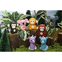 Iwako Jungle Paradise Animals - Monkey, Unicorn & Koala Bear (7pcs) Japanese Erasers