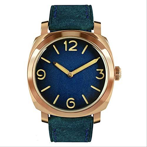 WDXDP Montres Bracelet Montres Bronze Vintage Étain Automatique Plongée Montre-Bracelet 100M Résistant À l'eau Lumineux Mains Homme MontresETA Arabe Bleu