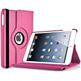 iPad Mini Case - Hot Pink Leather 360 Rotating Smart Cover for iPad Mini 3rd, 2nd and 1st generation, with screen protector