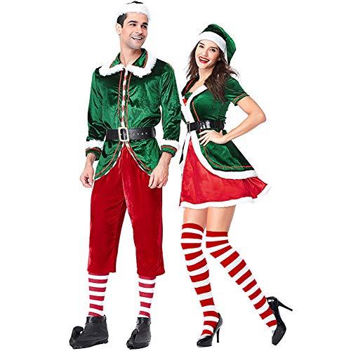 Weihnachtskostüm Für Erwachsene Günstige - Costour Damen Schönes Schickes Weihnachtskostüm Paar tragen Grüne Weihnachtself Set Party Aufführung Rolle Spielen (Rot/Grün, XL)