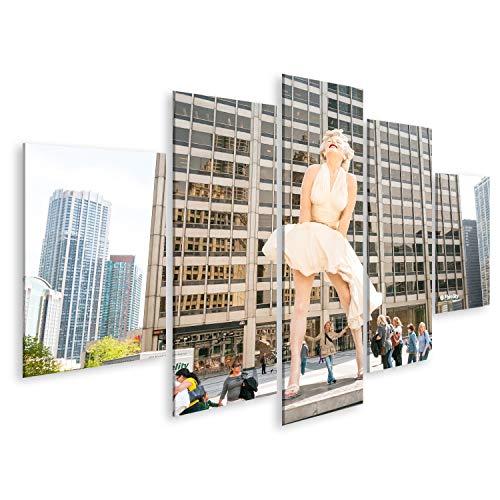Bild Bilder auf Leinwand Chicago, IL, Vereinigte Staaten - 13. April 2012: Für immer Marilyn Monroe Sculpture entlang der Michigan Avenue, besucht von einer großen Anzahl von Touristen. Wand