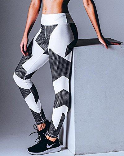 Femme Pantalon de course à pied Pantalon de sport respirant Pantalon de Yoga Fitness Taille haute Pantalon d'extérieur Leggings d'impression numérique Blanc