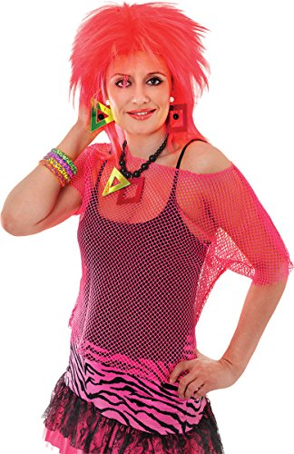 Bristol Novelties Erwachsene Punk Fancy Kleid Party 80er Glam Rock Sexy siehe durch Fischnetz Mesh Top UK, Pink
