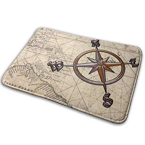 QuGujun royal Velvet Towels Retro Map Nautical Compass Bath Mat Non Slip Absorbent Super Cozy Velvet Bathroom Rug Carpet Bath Rugs -
