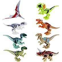 JZK 8 piezas figura bloques dinosaurio Juguete de Mini dinosaurio para niños, cabeza, boca, manos, pies son móviles