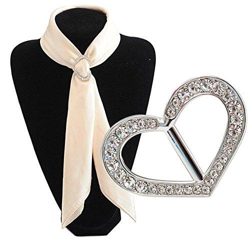 Luxus Modische Liebe Herz Strass Metall Schals Schnalle Seidenschal Verschluss Clips Kleidung Halstuch Ring Wrap Halter für Frauen Mädchen Weihnachtsgeschenk (Silber) -