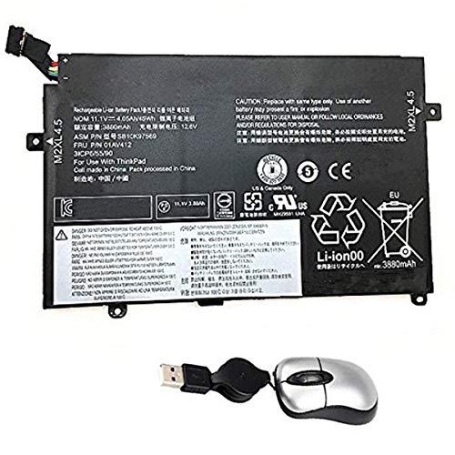 Amsahr 01AV412-05 - Batería de reemplazo para Lenovo 01AV412, ThinkPad E470, E470 (20H1001NCD), E470 (20H1001QCD) (Incluye Mini ratón óptico) Color Gris