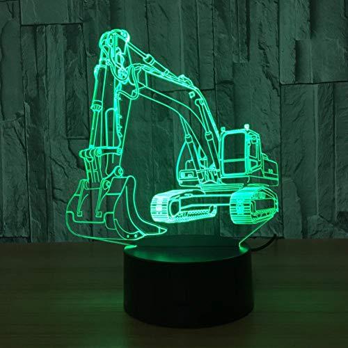 WSXYD 3D Nachtlicht 3D Bagger Nachtlicht Illusion Led Tabelle Tauchen 7 Farben Usb Neuheit Auto Form Schreibtisch Nachtlicht Dekoration Lampe Kinder Geschenk Berühren Sie -