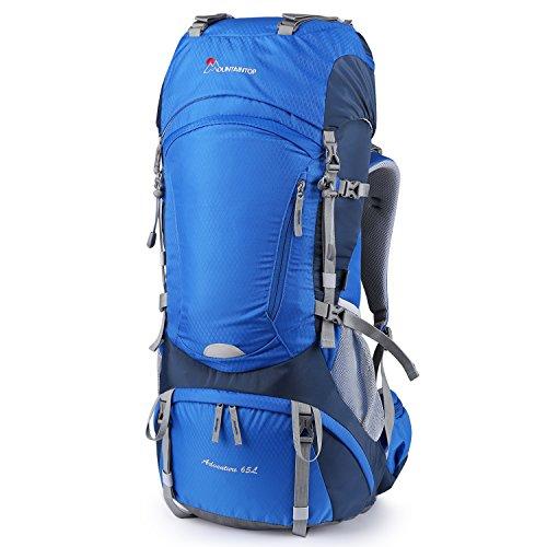 Mountaintop 65+5L Trekkingrucksack Wanderrucksäcke für Camping, Wandern, Bergsteigen, Reisen mit Regenhülle (Himmelblau-65+5L)