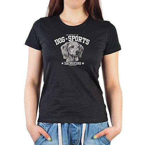 Damen-Shirt/Girlie-Shirt mit Hunde-Motiv: Dog Sports Dachshund - für Hundefreunde Schwarz