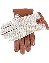 Cognac Cotton Crochet Back Driving Gloves by Dents
