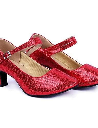 ShangYi Women's Dance Shoes Latin Sparkling Glitter/Paillette Low Heel Blue/Pink/Red/Silver/Gold , silver-us6 / eu36 / uk4 / cn36 , silver-us6 / eu36 / uk4 / cn36