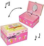 Schmuckkasten / Schatzkiste - mit Spieluhr & Spiegel - ' drehende Eule ' - incl. Name - für Kinder / Mädchen - Utensilo - Kinderzimmer - z.B. für Schmuck - Schmuckbox Schmuckkästchen / Schmuckdose - Box / Kiste - Schatztruhe / Schmuckkoffer - Eulen Blumen - Musikspieluhr