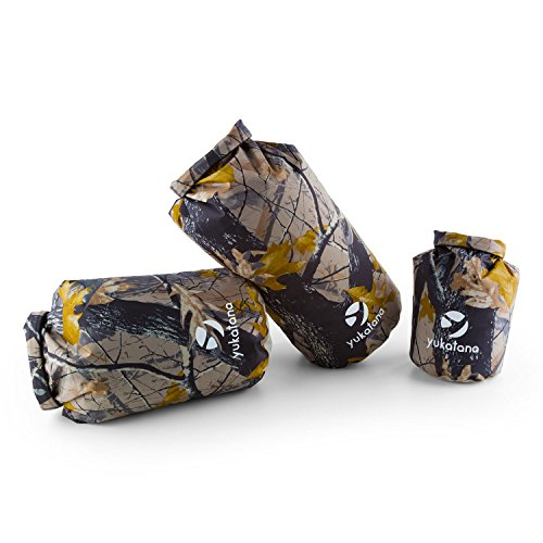 yukatana Treckset Camou • Seesack • Packsack Set • Rollbeutel • 3er Set • wasserdicht • 5L + 15L + 20L • Wickelverschluss • Clip-Schnalle • wasserdicht • winddicht • 500D PVC Tarpaulin • camouflage Canvas-sack Kleine