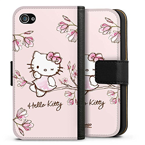 Apple iPhone 6 Silikon Hülle Case Schutzhülle Hello Kitty Merchandise Fanartikel Magnolia Sideflip Tasche schwarz