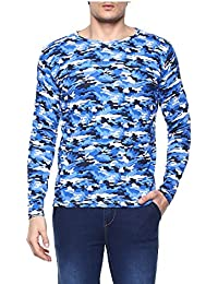 Urbano Fashion Men's Blue Camouflage Round Neck Full Sleeve T-Shirt