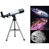 G-Anica® Lunette Astronomique Télescope Réfracteur, 90 X Télescope de Bureau Réfracteur Astronomique 360 x 50 mm - Pour les Astronomes Débutants et les Adolescents Observation des Etoiles Lune Oiseaux- Détecteur, Trépied e Accessoires (Pour observer la lune et les autres étoiles)