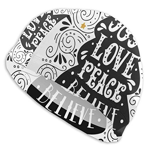 Gebrb Gorro de Baño/Gorro de Natacion, Elastic Swimming Hat Diving Caps,Flower Mandala Tiles In Lively Colored Frames Hand-Drawn Style On Black Background,For Men Women Youths