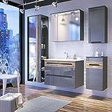 Badmöbel Set GALAXY-V 80 mit Waschbecken Keramik LED (komplettes Badmöbel Set, GRAU HOCHGLANZ / EICHE MATT)
