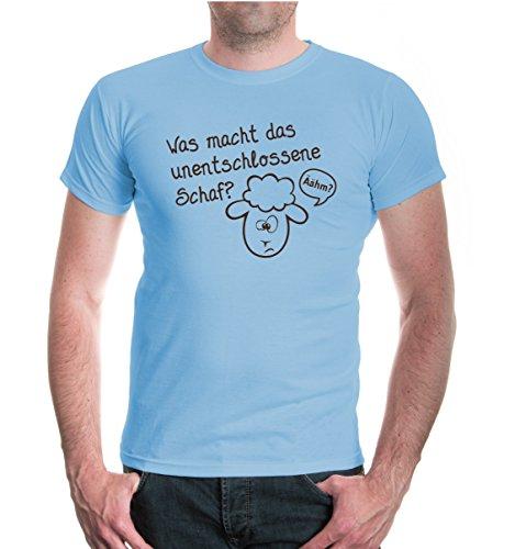 buXsbaum® T-Shirt Was macht das unentschlossene Schaf? Skyblue-Brown