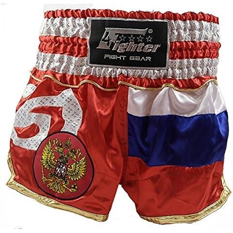 4Fighter Muay Thai Shorts Russia nazionale nel disegno della bandiera nazionale, Taille:XS - Muay Thai Kickbox Shorts