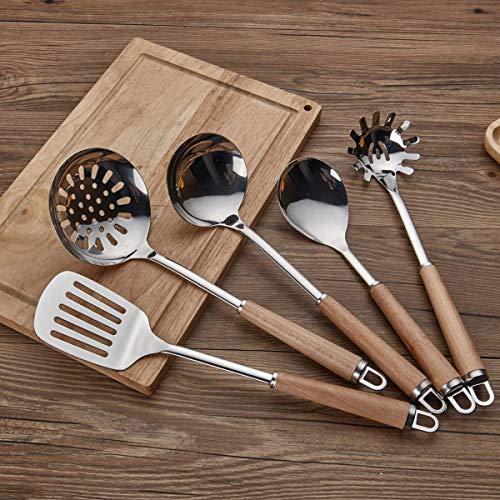Berglander Acciaio inossidabile Manico in legno Set di utensili da cucina, Mestolo, Cucchiaio, Scrematrice, Frullino per uova, Giradadi, Server per pasta 6 pezzi. - 3