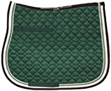 USG Dressage Quillted Saddle Cloth with Double Rope Piping, Full, Dark Green/ Ecru/ Brown with Border, Ecru/ Light Green