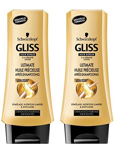 Schwarzkopf Gliss Après shampooing Ultimate Huile Précieuse Flacon 200 ml Lot de 2