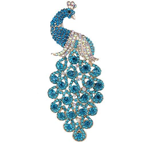 EVER FAITH® Elegant Tier Pfau Plume österreichische Kristall Pendant Brosche Gold-Ton Sky blau D00293-18 (Tier Broschen Modeschmuck)