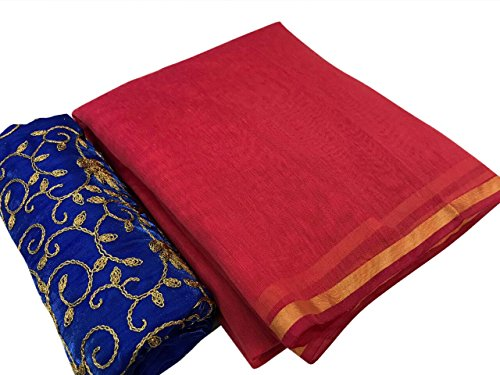 SilverStar Women's Red Color Chanderi Cotton Plain Saree With Embroidery Work Blue...