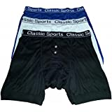 3 Pairs of Mens Designer *Classic Sports* Matching Waistband Button Fly Boxer Shorts - Available in Sizes Small / Medium / Large / XLarge / XXLarge